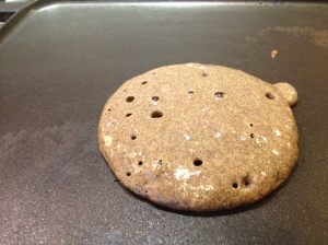 Buckwheat pancake on the griddle
