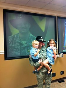 Just after Col. Megan Sutten's promotion ceremony, watched happily by her husband Grant via video
