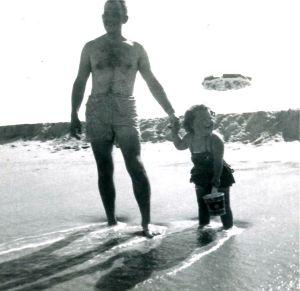 Dad holding Midge's hand 1953