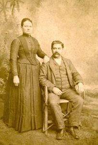 Frank Campbell and Mary Sharp, wedding photo, 1877, Crawford County, Indiana